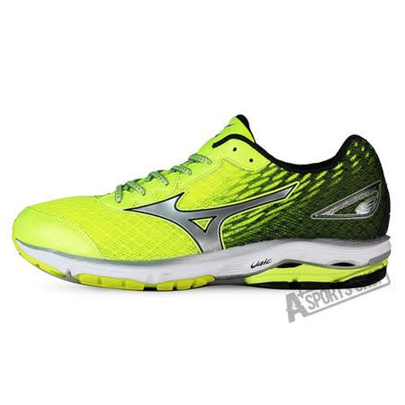 MIZUNO (男) WAVE 男慢跑鞋 WAVE RIDER 19 SW 熒光綠-J1GC160405