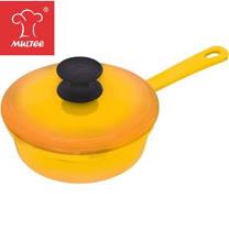 【MULTEE摩堤_鑄鐵鍋系列】16cm單柄煎鍋含蓋(漸層黃)