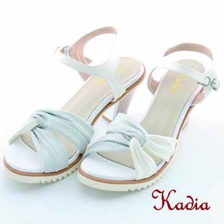 kadia.異國風情 扭結帶高跟涼鞋(白色)