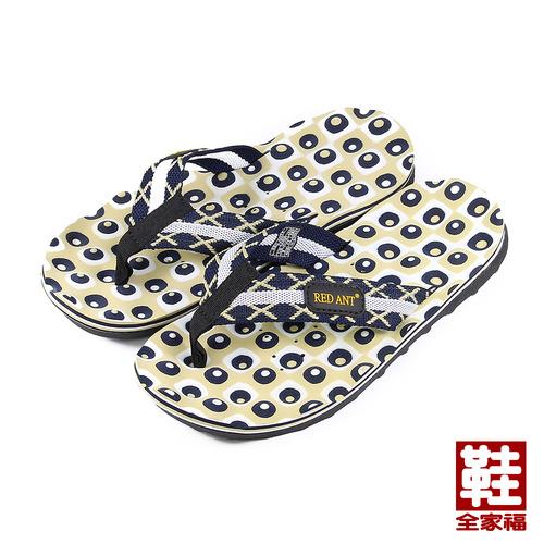^(男^) RED ANT 馬賽克海灘拖鞋 藍 鞋全家福