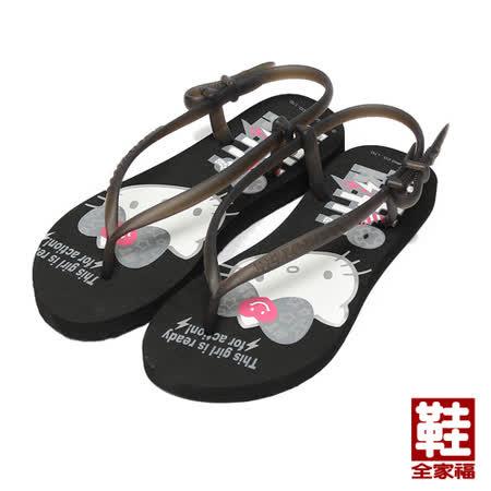 (女) HELLO KITTY 搖滾風造型涼鞋 黑 鞋全家福