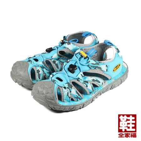 (女) RED ANT 護趾海灘涼鞋 藍 鞋全家福
