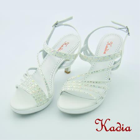 kadia.時尚穿搭 水鑽造型高跟涼鞋(白色)