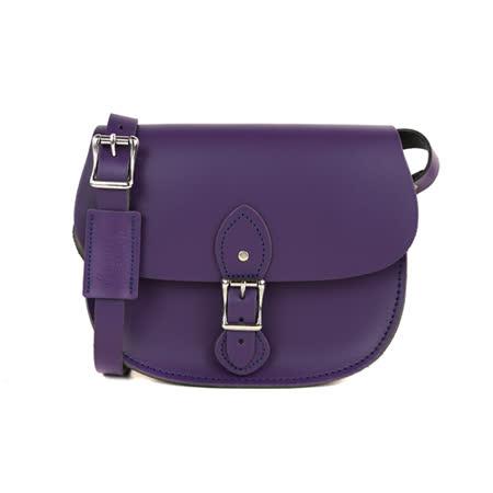 【The Leather Satchel Co.】英國原裝手工牛皮馬鞍包 肩背 側背手拿包 精湛工藝 新款磁釦設計方便開啟(舞夜紫)