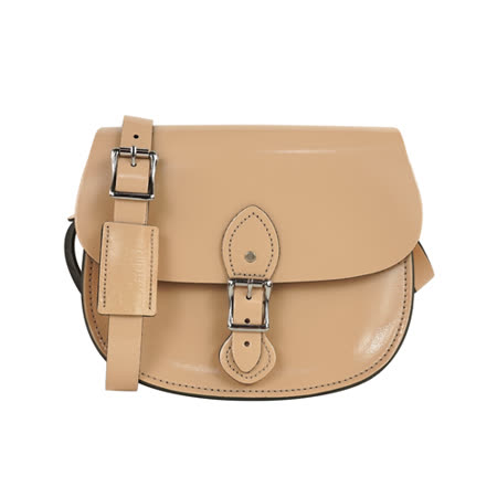 【The Leather Satchel Co.】英國原裝手工牛皮馬鞍包 肩背 側背手拿包 精湛工藝 新款磁釦設計方便開啟(時尚裸)