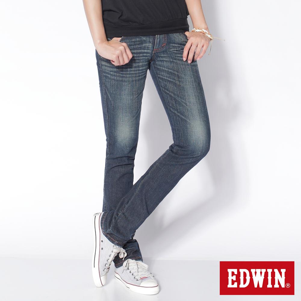 EDWIN MISS EDGE袋蓋小直筒牛仔褲~女~中古藍