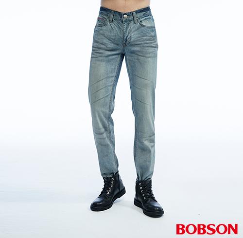 BOBSON 男款低腰壓摺半舊直筒褲^(1807~53^)