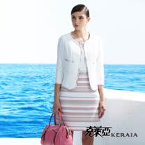 【克萊亞KERAIA】粉嫩條紋短袖洋裝