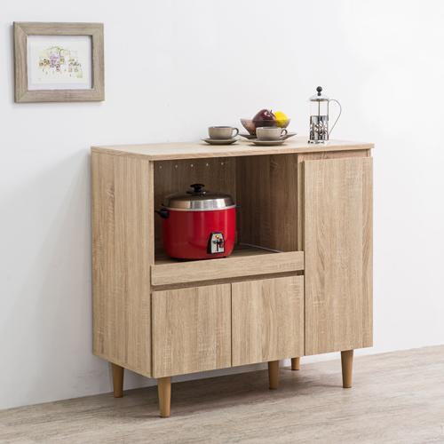 优居家 日式多功能三门厨房柜 浅木纹色