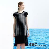 【克萊亞KERAIA】混紡麻感條紋洋裝-附背心
