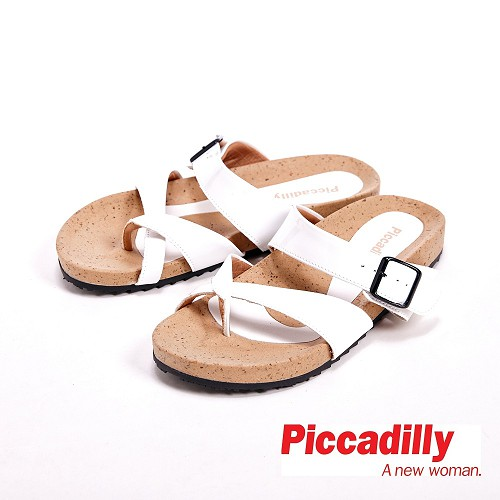 Piccadilly 交叉 平底夾腳拖鞋女鞋 白^( 灰、藍^)