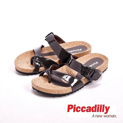 Piccadilly 交叉 平底夾腳拖鞋女鞋 灰^( 白、藍^)