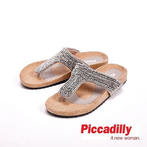 Piccadilly 水鑽 平底夾腳拖鞋女鞋 銀^( 黑^)