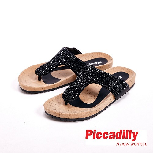 Piccadilly 水鑽 平底夾腳拖鞋女鞋 黑^( 銀^)