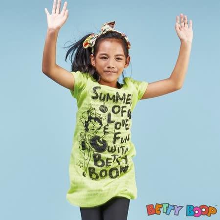 【Betty Boop貝蒂】假兩件竹節棉字母條紋長版上衣(共二色)