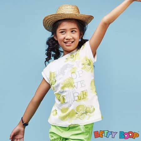【Betty Boop貝蒂】檸檬網紗微落肩折袖柔棉上衣(水藍色)