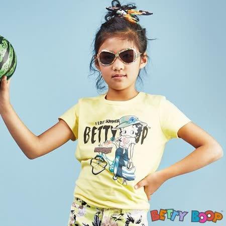 【Betty Boop貝蒂】腳踏車彩圖圓領棉質T恤(共二色)