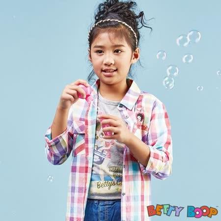 【Betty Boop貝蒂】海灘印圖貼鑽彈性柔棉T恤(共二色)