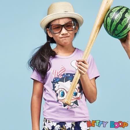 【Betty Boop貝蒂】貼鑽鏡框Betty彈性柔棉T恤(共二色)