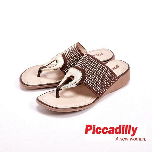 Piccadilly 貼鑽楔型跟夾腳拖鞋 女鞋 咖  灰、橘