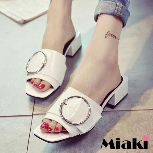 ~Miaki~t涼鞋韓鈕扣亮面露趾涼拖 ^(黑色 白色^)