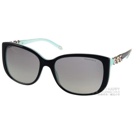 Tiffany & Co.太陽眼鏡 奢華花朵鑽飾款(黑-蒂芬妮綠) #TF4090B 80553C