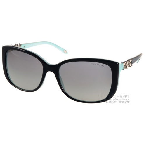 Tiffany  Co.太陽眼鏡 奢華花朵鑽飾款^(黑~蒂芬妮綠^) ^#TF4090B