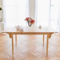 [自然行]-雙邊實木延伸桌74x166cm (扁柏自然色)
