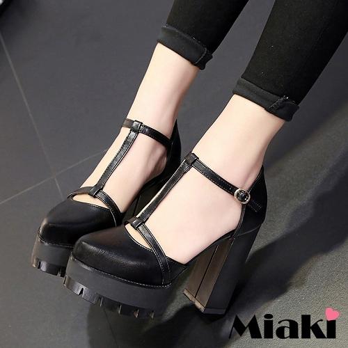 ~Miaki~t高跟鞋韓復古 T字繞踝包鞋 ^(黑色^)