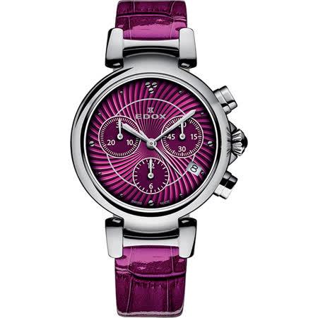 EDOX LaPassion 計時女錶-紫紅/35mm E10220.3C.ROIN