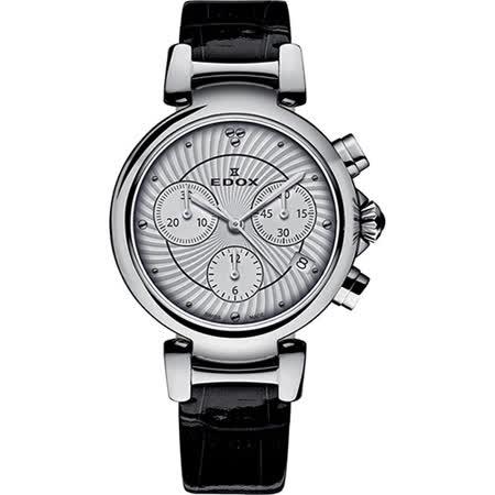 EDOX LaPassion 計時女錶-銀x黑/35mm E10220.3C.AIN