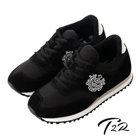 【韓國T2R】韓國T2R丹寧時尚內增高6公分休閒鞋-黑(5600-0222)
