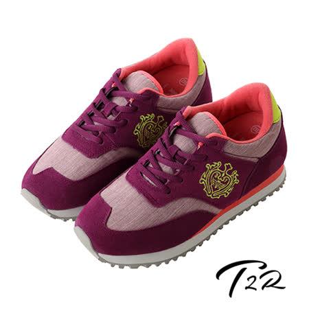 【韓國T2R】韓國T2R丹寧時尚內增高6公分休閒鞋-桃紫(5600-0224)