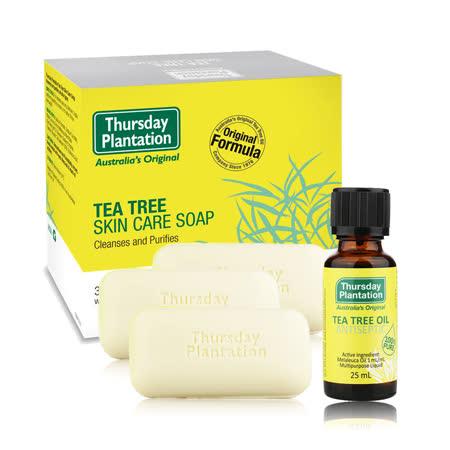 澳洲星期四農莊-茶樹純淨皂(3入/組)+茶樹精油(25ml/入)