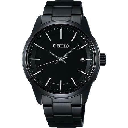 SEIKO SPIRIT 萬年曆太陽能電波腕錶-鍍黑/40mm 7B24-0BJ0SD(SBTM235J)