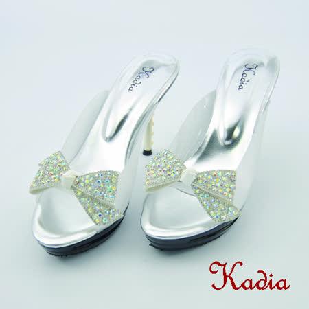 kadia.華麗閃耀 蝴蝶結水鑽高跟拖鞋(銀色)