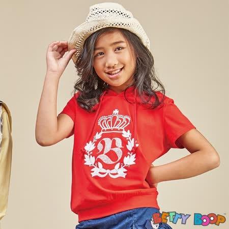【Betty Boop貝蒂】貼鑽亮膠格紋連帽柔棉T恤(藍色)