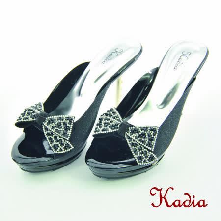 kadia.華麗閃耀 蝴蝶結水鑽高跟拖鞋(黑色)