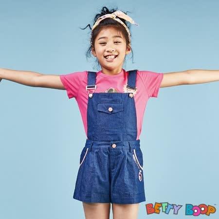 【Betty Boop貝蒂】素面配色口袋兩穿式吊帶短褲(灰色)