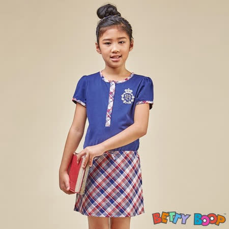 【Betty Boop貝蒂】格紋配色腰抽繩柔棉洋裝(共二色)