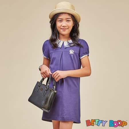 【Betty Boop貝蒂】格紋拼接剪裁公主袖洋裝(共二色)