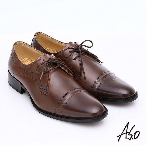 ~A.S.O~舒活系列 全真皮奈米雙色綁帶紳士鞋 咖啡