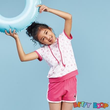 【Betty Boop貝蒂】滿版小圖連帽短袖短褲夏季套裝(共三色)