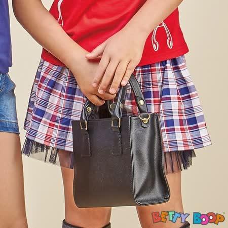 【Betty Boop貝蒂】配色格紋荷葉鬆緊紗襬裙(共二色)