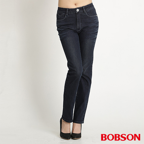 BOBSON 女款高腰後袋星星刺繡小直筒褲 ^(8121~52^)