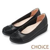 CHOiCE 舒適輕量 牛皮異材質拼接厚底娃娃鞋-黑色
