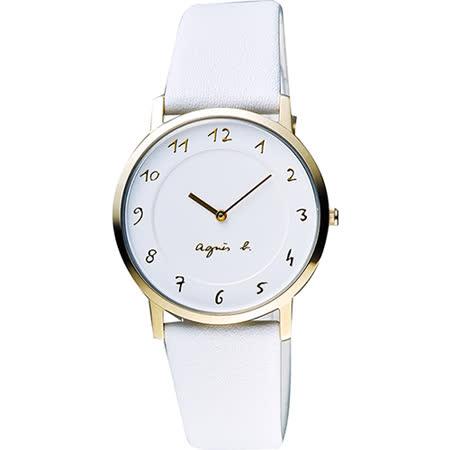 agnes b. 法國時尚藝術薄型石英女錶-白x金框/34mm 7N00-0BH0W(BG4016P1)