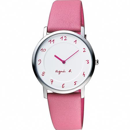 agnes b. 法國時尚藝術薄型石英女錶-白x粉/34mm 7N00-0BC0P(BG4013P1)