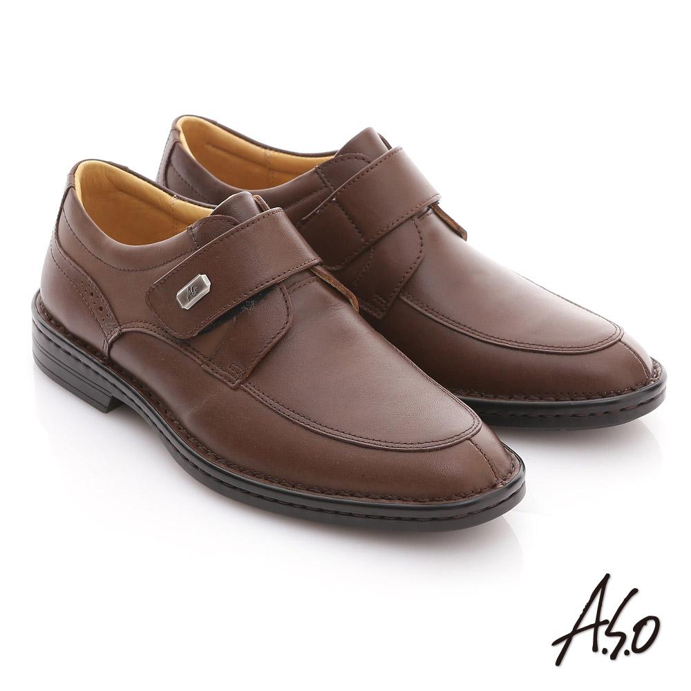 ~A.S.O~ 氣墊手縫系列 全真皮魔鬼氈奈米氣墊鞋 咖啡
