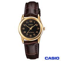 CASIO卡西歐 時尚休閒金系女性皮帶腕錶 LTP-V001GL-1B